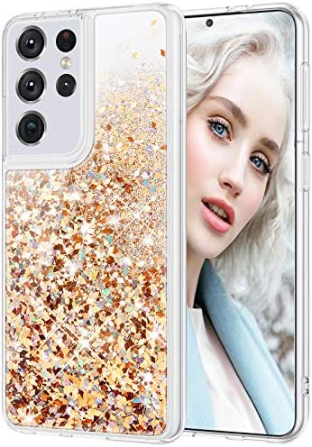 Maxdara Glitter Case for Galaxy S21 Ultra Case Girls Women Bling Quicksand Soft TPU Shiny Sparkle Luxury Floating Pretty Phone Case Cover for Galaxy S21 Ultra 5G, 6.8 inches (Gold Silver)