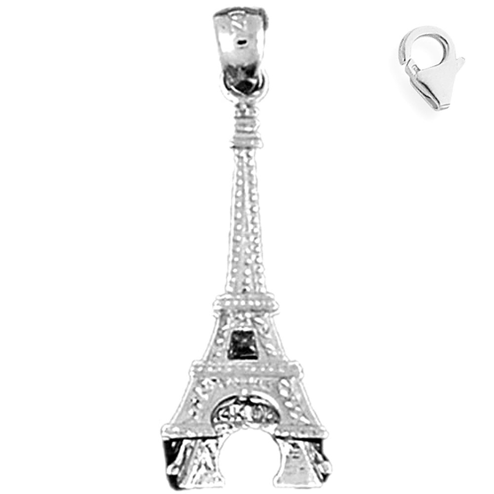 Jewels Obsession 3D Eiffel Tower Pendant Sterling Silver 32mm 3D Eiffel Tower with 7.5 Charm Bracelet
