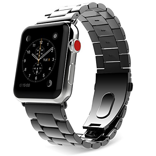 (MoKo Compatible Band Replacement for Apple Watch, Stainless Steel Metal Replacement Band with Double Button Folding Clasp Fit iWatch 42mm 44mm Series 4/3/2/1 - Space Gray (Not Fit iWatch 38mm 40mm))