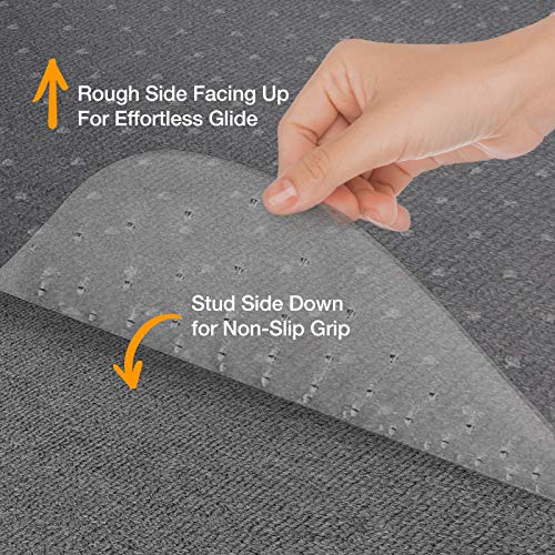 "Chair Mats for Carpeted Floors – Shatter-Proof Carpet Protector for Desk Chair | Eco-Friendly Low/Medium Pile Office Chair Mat for Carpet | Clear- 48"" x 60"" by OfficeMarshal (Image #3)"