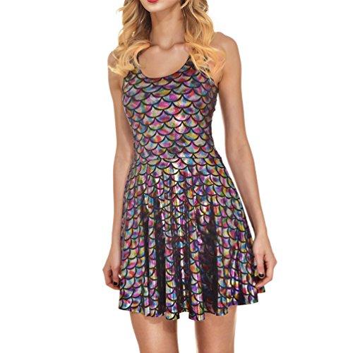 AISKLY Womens Mermaid Dress Plus Sleeveless Shiny Short Tank Pleated Party Print Skater Dresses,YL-1004,3X
