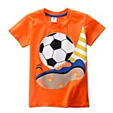 Bellelove Kid's Summer T-Shirt,Toddler Kids Baby Boys Girls Clothes Short Sleeve Cartoon Football Print Tops T-Shirt Blous (6 Years, Orange)