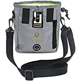 Dog Treat Pouch - Pet Snacks, Toys and Training Tools Carrier - With Built-In Poop Bag Dispenser - Stylish, Multi-wear, Multipurpose - Weather-Resistant Nylon Fabric Material
