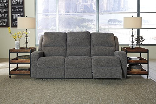 Krismen Contemporary Fabric Charcoal Color Power Reclining Sofa With Adjust Headrest Review