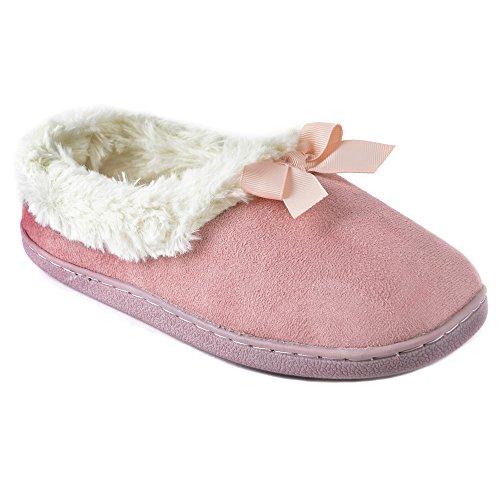 Hari Deals - Zapatillas de estar por casa de Tela para mujer Rosa
