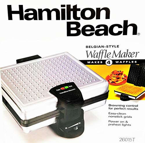 Belgian-Style Waffle Maker With Non-Stick Grids Makes 4 Waff