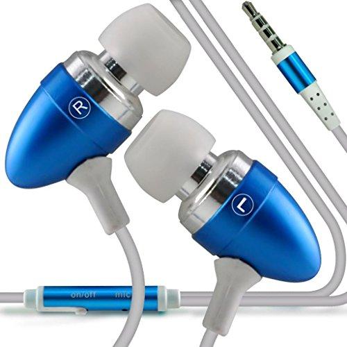 N4U Online - Apple iPhone 5s Des bourgeons de qualité Premium à oreille stéréo mains libres casque Headset avec construit en Mic Microphone & bouton marche-arrêt- Bébé Bleu