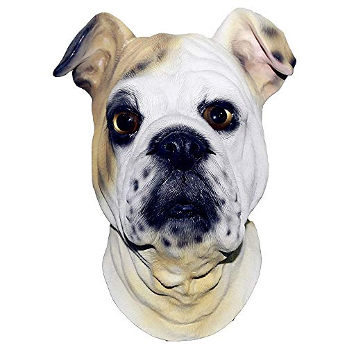 Bulldog Head Latex Mask Animal British Bulldog Halloween Party Costumes Mask Cosplay -