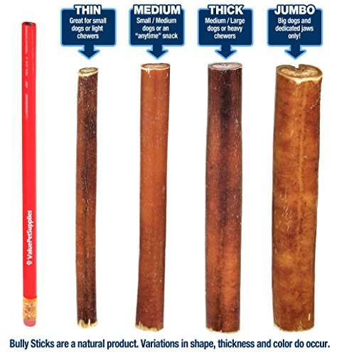 Picture of ValueBull Bully Sticks Dog Chews, 6 Inch Regular/Thin, All Natural, 100 Count