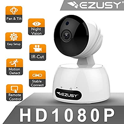 EZUSY 1080P Wireless Security Camera, HD WiFi Security Surveillance IP Camera Home Monitor with Plug/Play, Pan/Tilt Motion Detection Two-Way Audio & Night Vision