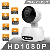EZUSY 1080P Wireless Security Camera, HD WiFi Security Surveillance IP Camera Home Monitor with Plug/Play, Pan/Tilt Motion Detection Two-Way Audio & Night Vision For Sale