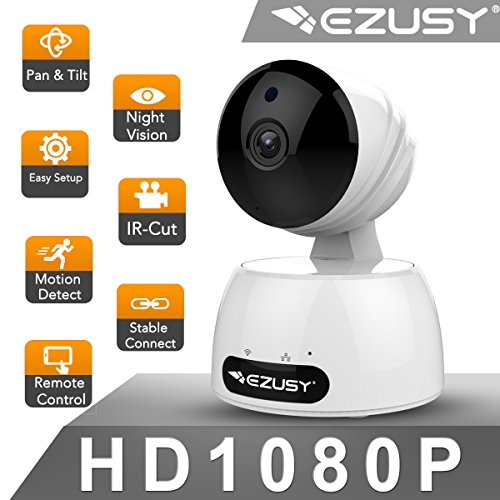 EZUSY 1080P Wireless Security Camera, HD WiFi Security Surveillance IP Camera Home Monitor with Plug/Play, Pan/Tilt Motion Detection Two-Way Audio & Night Vision by EZUSY