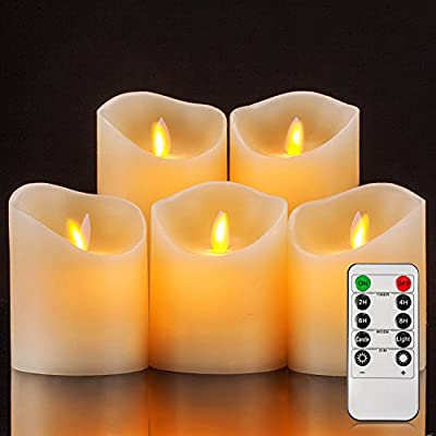 Pandaing Realistic Flickering Pillar Flameless Battery Operated LED Real Wax Candles with 10-Key Remote Control and 2 4 6 8 Hours Timer Function
