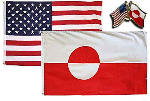 K's Novelties 2 Flag set with Matching Pin USA & Greenland C