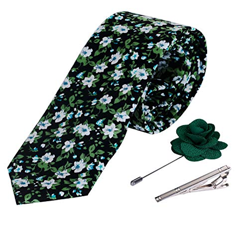 Design Floral Brooch - iHomor Men's Cotton Printed Floral Neck Tie Skinny Ties with Stainless Steel Tie Clip and Lapel Pin/Brooch Gift Set (green)