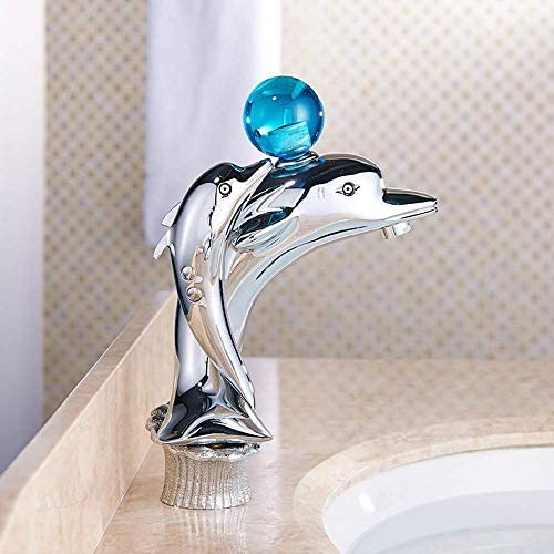ZJN-JN 蛇口 現代の銅クローム蛇口キッチンバスルームのイルカは、実用的な美しいホットとコールド洗面アンダーカウンター蛇口セットを持ち上げ 台付