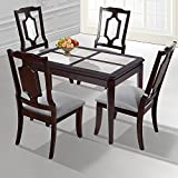 SLEEPLACE SVC30TB03D 44'' NATURAL Marble Dining table/ Solid Wood/ Round Edge, Dark Brown & White