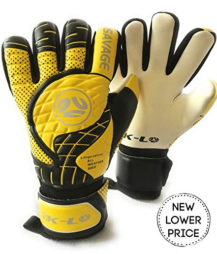 FINGERSAVE Goalkeeper Gloves by K-LO - The Savage Goalie Glove Has Fingersave Protection in All 5-Fingers to Prevent Injury and Improve Shot Blocking. Super Sticky Palms.Youth & Adult Sizes.Yellow. ()