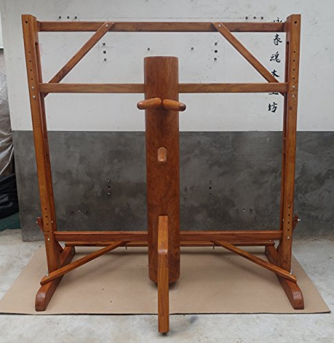 Adjustable Frame Wing Chun Wooden Dummy Brown Color Solid Piece of Wooden dummy for sale WCM005