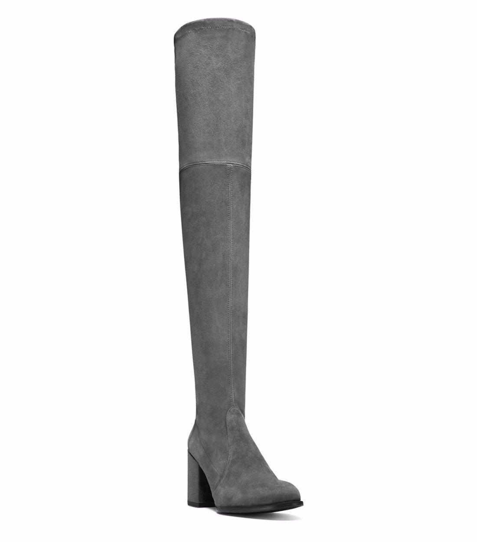 Oto/ño e Invierno moda calzado mujer stilettos ronda botas de gamuza