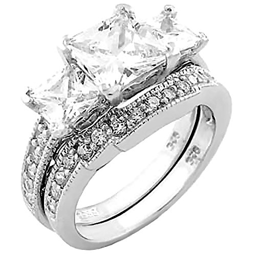 Sterling Silver 3.9ct Ice on Fire CZ 3 Stone Bridal Wedding Ring Set, Shekira 3098 sz 5.0