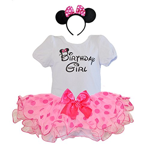 Birthday Girl T-Shirt with Polka Dot Tutu and Headband 3 PCs Set (Age 1, Hot Pink/pink) -