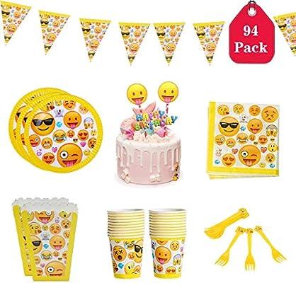 Amycute 94 PCS Fiesta de Cumpleaños Set de Vajilla ...