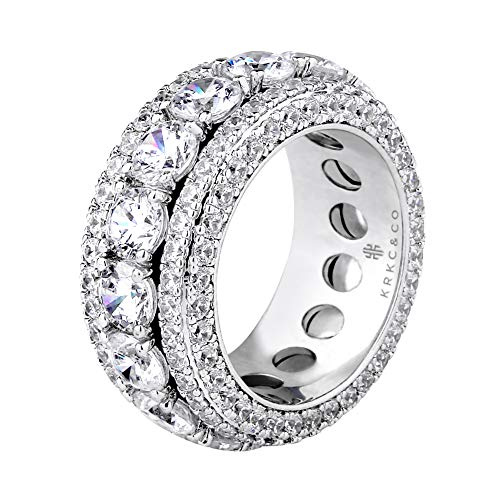 KRKC&CO Mens White Gold Bling Ring Hip Hop Iced Out Rotating Ring Size 8-10 (White Gold, 9)