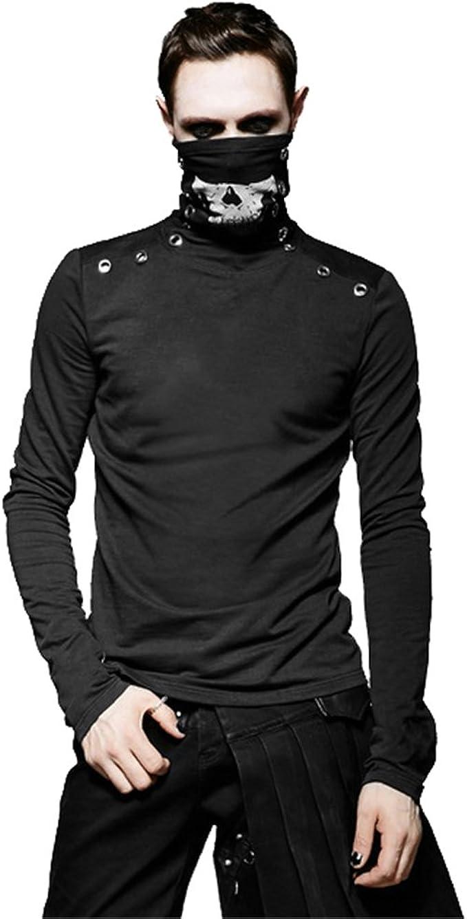 Amazon.com: PUNK Fashion Men Skull Mask T Shirts Gothic Cool ...