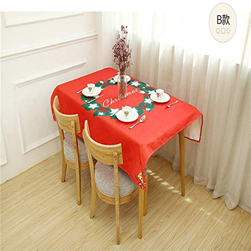 RubyShopUU Table Cover Christmas Elk Santa Claus Snowman Pattern Printing Tablecloths Christmas Party Decoration Table Cloth (Christmas Tablecloths Kohls)