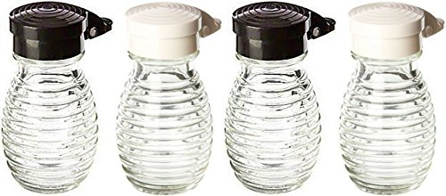 Moisture Proof Beehive Salt And Pepper Shakers | Black And White Hinged Flip Top | No Spill | No Clog | 2 OZ Set Of 4