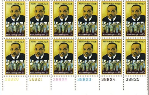 MARTIN LUTHER KING JR ~ BLACK HERITAGE #1771 Plate Block of 12 x 15 cents US Postage Stamps ()