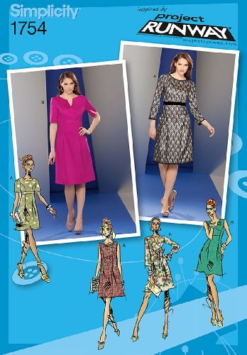 Simplicity 1754 Misses' Dress Project Runway Collection Sewing Pattern, Size P5 (12-14-16-18-20) (Trimmed Dress Sheath)