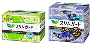 Kao Laurier Sanitary Pads Set - Sanitary Napkins Slim Guard Ultra Thin Double-Absorbency With Wings, For Day 205mm-28 Count & For Night 350mm x 13 Count, Made In Japan