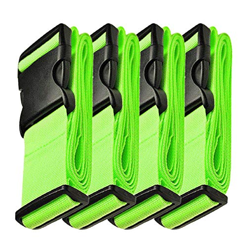 WeBravery Adjustable Luggage Strap Suitcase Belt Bag Straps Travel Accessories, Green, 4 Piece