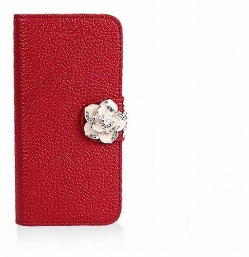 Luxury Crystal Rhinestone Camellia Leather Card Flip Card Holder Wallet Case Cover for Samsung Galaxy W i8150 Exhibit II 2 4G T679 (red)