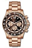 Invicta Mens Signature II Chronograph Brown Dial Rose Gold Stainless Steel Bracelet Watch 7411
