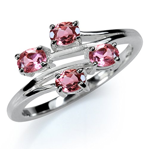 Natural Pink Tourmaline 925 Sterling Silver Bypass Ring Size 9 Cut Pink Tourmaline Ring