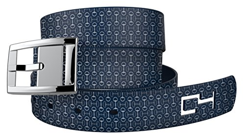 Navy Golf Bits Belts with Silver Buckle - Adjustable for waist size up to 44 inch, hypoallergenic - by C4 Belts