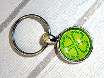 Llavero de llavero, trébol de la suerte, verde, trébol de ...