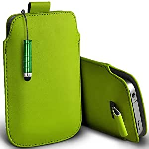 Shelfone Stylish Protective Leather Pull Tab Skin Case Cover For Samsung Galaxy Y PRO B5510 L Includes Stylus Pen Green