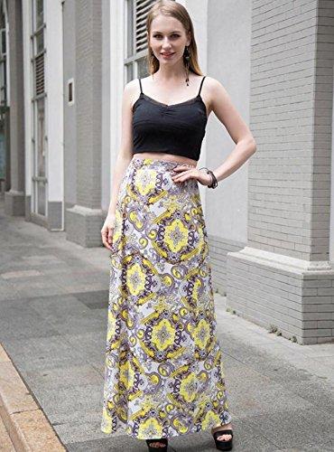 Coton Élastique Jaune Demi Jupe Longue Robe longueur Femmes En Section Abby xq1TSnw