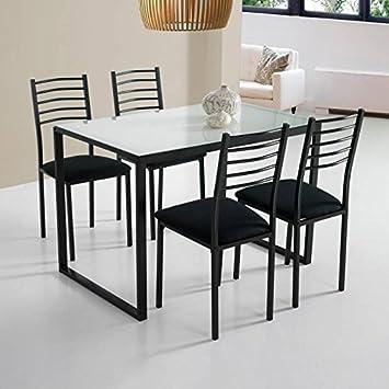 KITKAY Conjunto Noa de Mesa de Cocina + 4 sillas Cristal ...