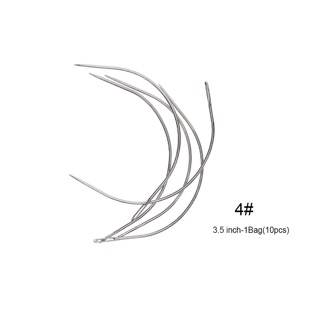 Ownsig 10pcs 2 Inch C Type Curved Needles for Hair Weaving Thread Sewing Mattress Upholstery Hair Extension Tool