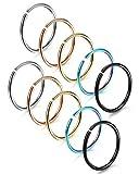 FUNRUN 10PCS 18G Stainless Steel Hoop Nose Ring for Girls Men Body Jewelry Piercing Tragus Lip Rings 8-12mm