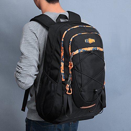 FANDARE Macutos de Senderismo Mochila Morral al Aire Libre Viaje Escuela Bolso Recorrido Backpack Hombres Oxford Poliéster Alta Capacidad 42L Negro Negro