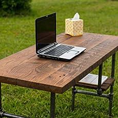 Amazoncom Reclaimed Wood Desk Table  Solid Oak W 28 Black