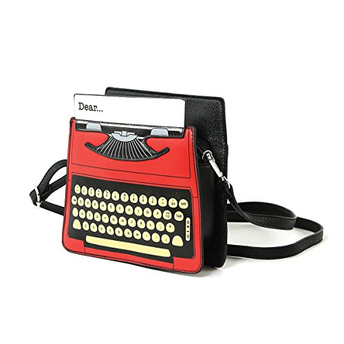 Typewriter Print Vintage Vinyl Red Bag Satchel Screen fdFaAq