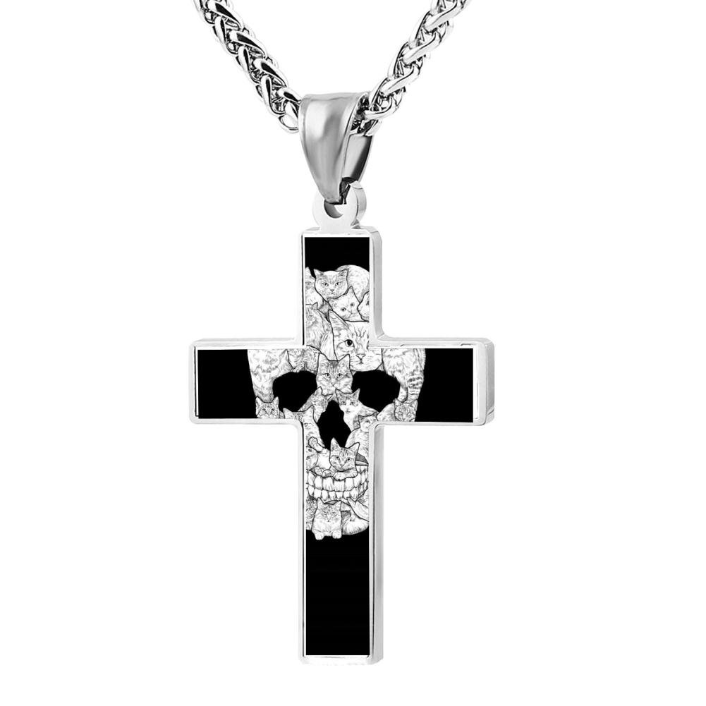 Wine Jianxian Sketchy Cat Skull Cross Pendant Jewelry Zinc Alloy Prayer Necklace For Men Women With Necklace,24 Inch