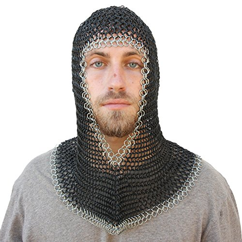 Medieval V Face Mild Steel Chainmail Coif Armor - Medieval ...